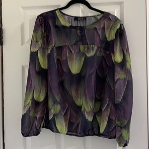 Semi sheer purple and green blouse